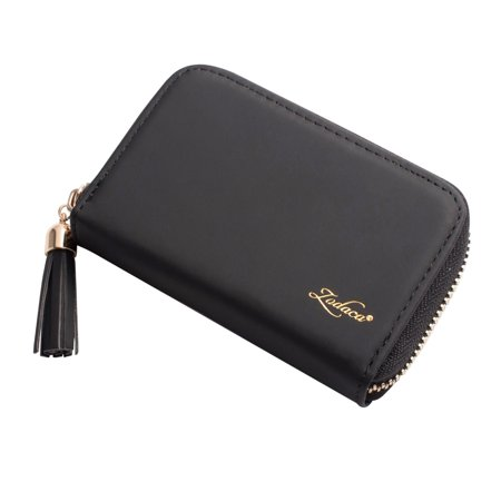 Card Holder Wallet for Women by Zodaca Fashion Small Leather Card Holder Zip Coin Pouch Purse Cluth Mini Wallet 10-Slot for ID Credit Card - Black Small Coin Pouch