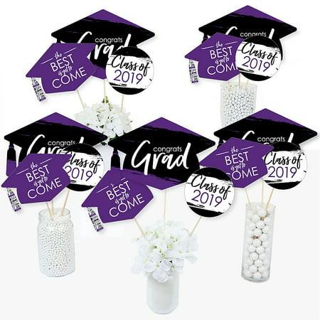 Purple Grad - Best is Yet to Come - 2019 Purple Graduation Party Centerpiece Sticks - Table Toppers - Set of 15 (Purple Centerpieces For Table)