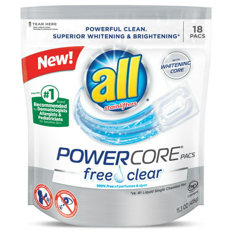 all PowerCore Pacs Laundry Detergent, Free Clear for Sensitive Skin, 18 Count