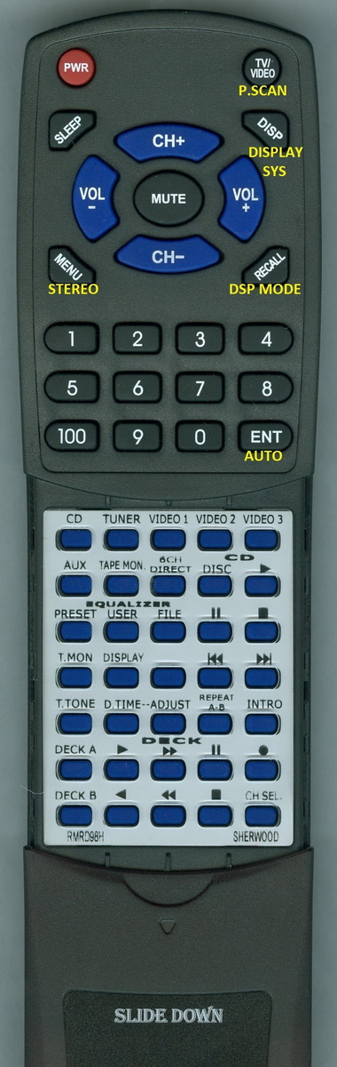 Replacement Remote for SHERWOOD RMRD98H, RTRMRD98H, RMRD61, RD7100, RD6106, RD7103, RV7100 by Redi-Remote