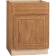 RSI HOME PRODUCTS HAMILTON BASE CABINET, FULLY ASSEMBLED, RAISED PANEL, OAK, 27X34-1/2X24 IN.