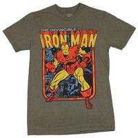Iron Man (Marvel Comics) Mens T-Shirt -  Old School Over Comic Panels Invincible