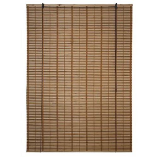 ALEKO BBL46X64BR Bamboo Midollino Wooden Roll-Up Blinds with Light-Filtering Shades, Light Brown