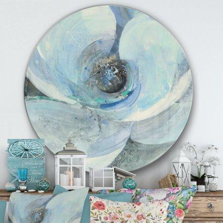 DESIGN ART Designart 'Watercolor Moonlight Magnolia I' Farmhouse Metal Circle Wall (Metal Magnolia)