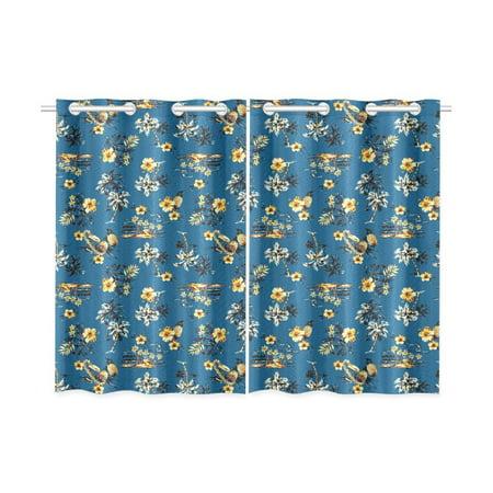 Mkhert Hawaii Palm Tree Beach Blue Window Curtains Kitchen