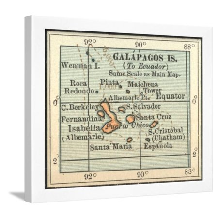 Plate 121. Inset Map of Galapagos Islands Framed Print Wall Art By Encyclopaedia - Plate Wall Art