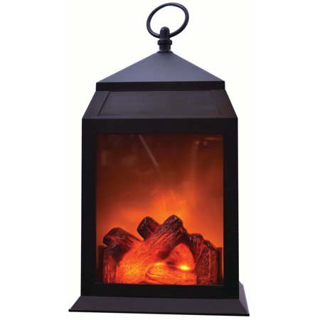 "LED Fireplace Lantern – 12"" Decorative Portable Light Battery Operated Fake Fire ()"