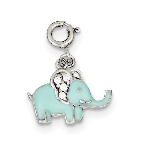 Sterling Silver Blue Enameled with Cubic Zirconia Elephant Charm
