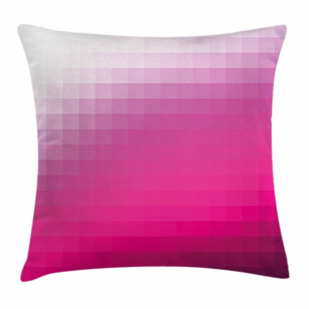 Hot Pink Throw Pillow Cushion Cover, Modern Art Mosaic Tiles Gradually Ombre Inspired Squares Image, Decorative Square Accent Pillow Case, 16 X 16 Inches, Hot Pink Dark Purple White, by Ambesonne ()