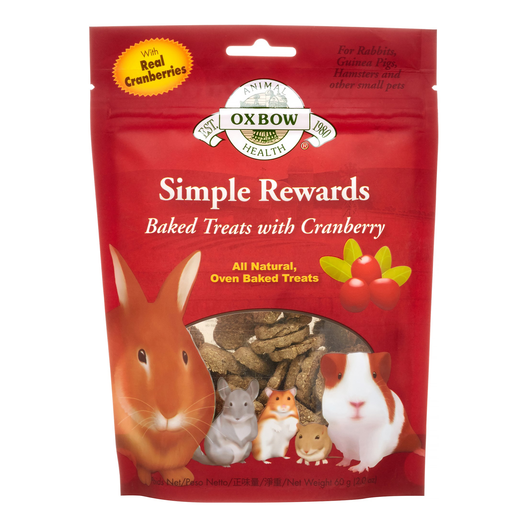Oxbow Simple Rewards Baked with Cranberry Small Animal Treats, 2 Oz