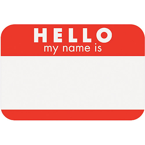 "Self-Adhesive Name Tags 2-1/4""X3-1/4"" 100/Pkg-Hello - Red"