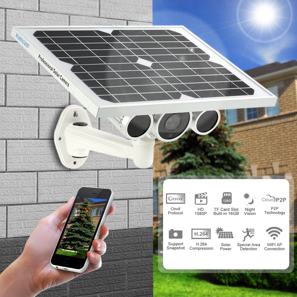 Wanscam  Wireless HD 1080P WiFi Solar & Battery Power Bullet IP Camera IR-CUT Night Vision Waterproof Outdoor Onvif Security Camera HW0029-5 Built-in 16GB TF Card