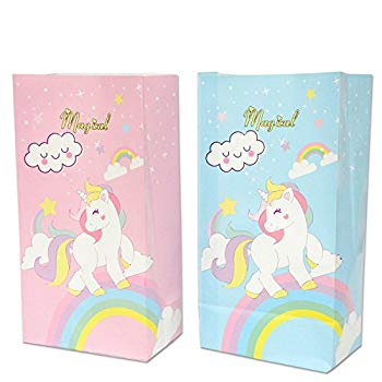 UNICORN PINK BIRTHDAY PARTY BAGS ~ RECYCLABLE LOOT TREAT FAVOUR GOODY BAG