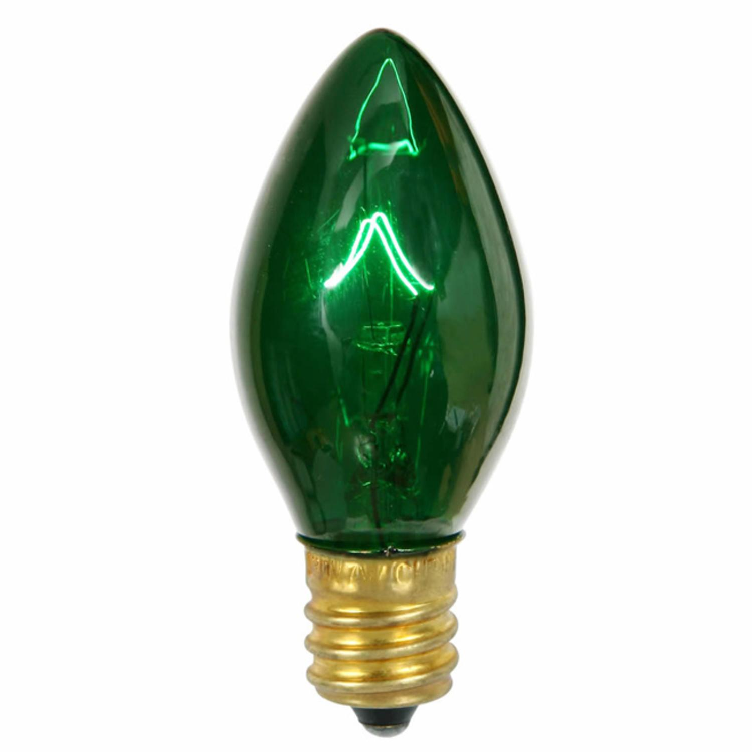 Club Pack of 100 Transparent Green Twinkle C7 Replacement Christmas Light Bulbs