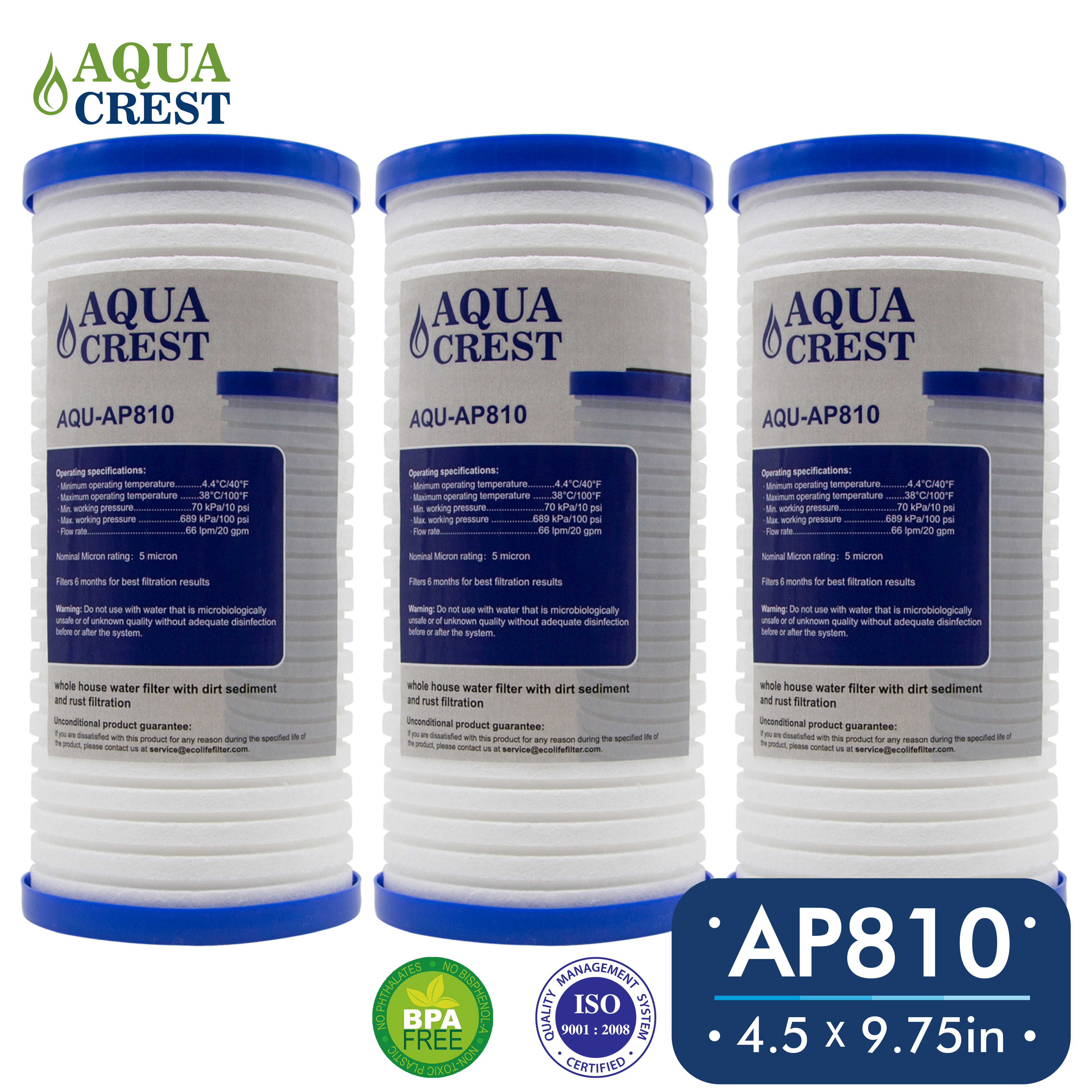 3 Pack AQUACREST AP810 Replacement for 3M Aqua-Pure AP810, Whirlpool WHKF-GD25BB Whole House Water Filter by Ecolife Technologies
