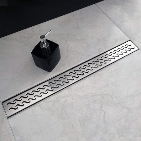 Neodrain 36 Inch Rectangular Linear Shower Drain with Slight Sea Grate, Brushed 304 Stainless Steel