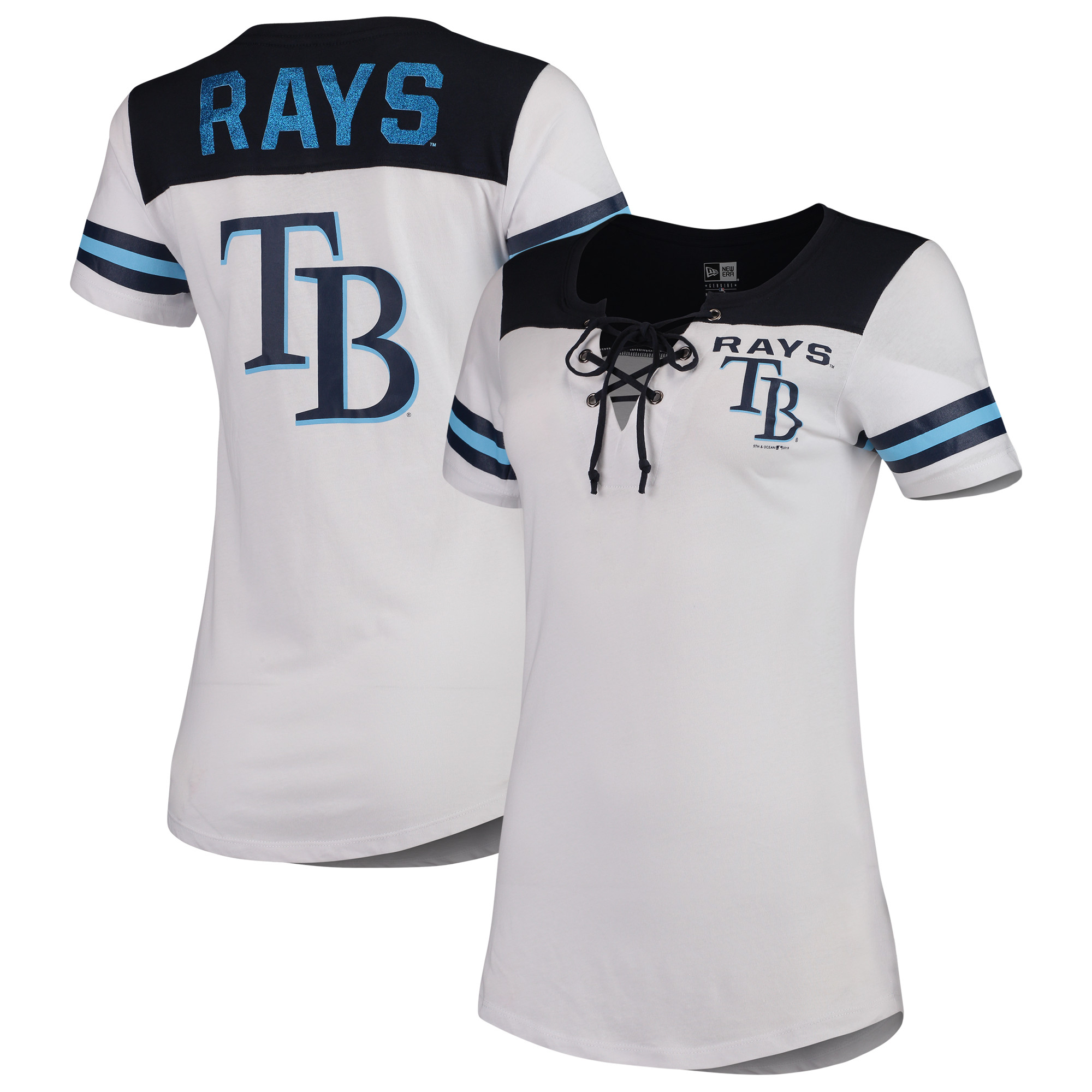 Tampa Bay Rays 5th & Ocean by New Era Women's Baby Jersey Lace-Up V-Neck T-Shirt - White/Navy