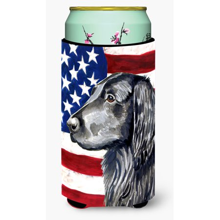 USA American Flag with Flat Coated Retriever Ultra Beverage Insulators for slim cans