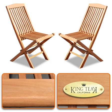 Sunrise 2 Pieses Folding Chairs Teak Wood Patio Bistro Sets, Outdoor Patio Furniture Set, 2 Chairs, Gold