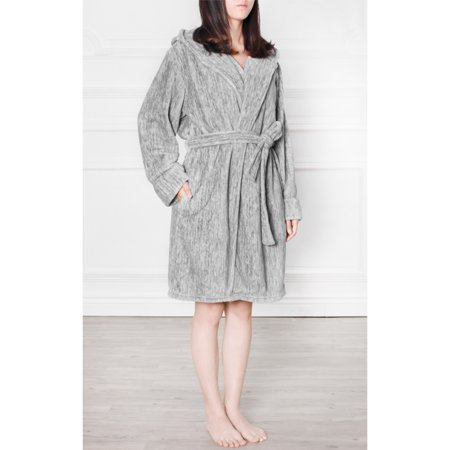 Premium Women's Fleece Hooded Robe Bathrobe by Pavilia | Super Soft, Side Pockets, Lightweight Microfiber, Luxurious (Charcoal)(Small/Medium)
