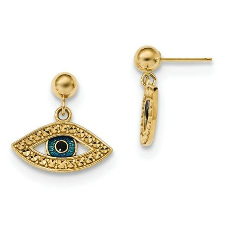 Roy Rose Jewelry 14K Yellow Gold Diamond-cut Enameled Eye Dangle on Ball Post - Gold Ball Post Earrings