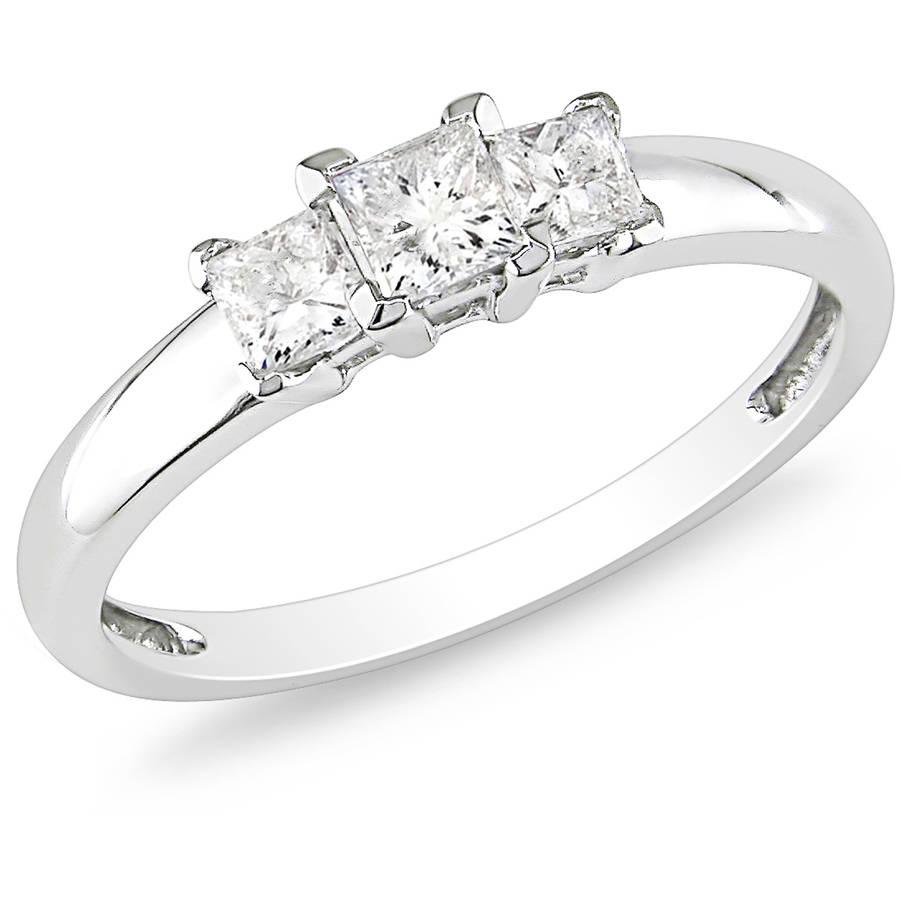 Miabella 1/2 Carat T.W. Princess-Cut Certified Diamond Three Stone 14kt White Gold Engagement Ring