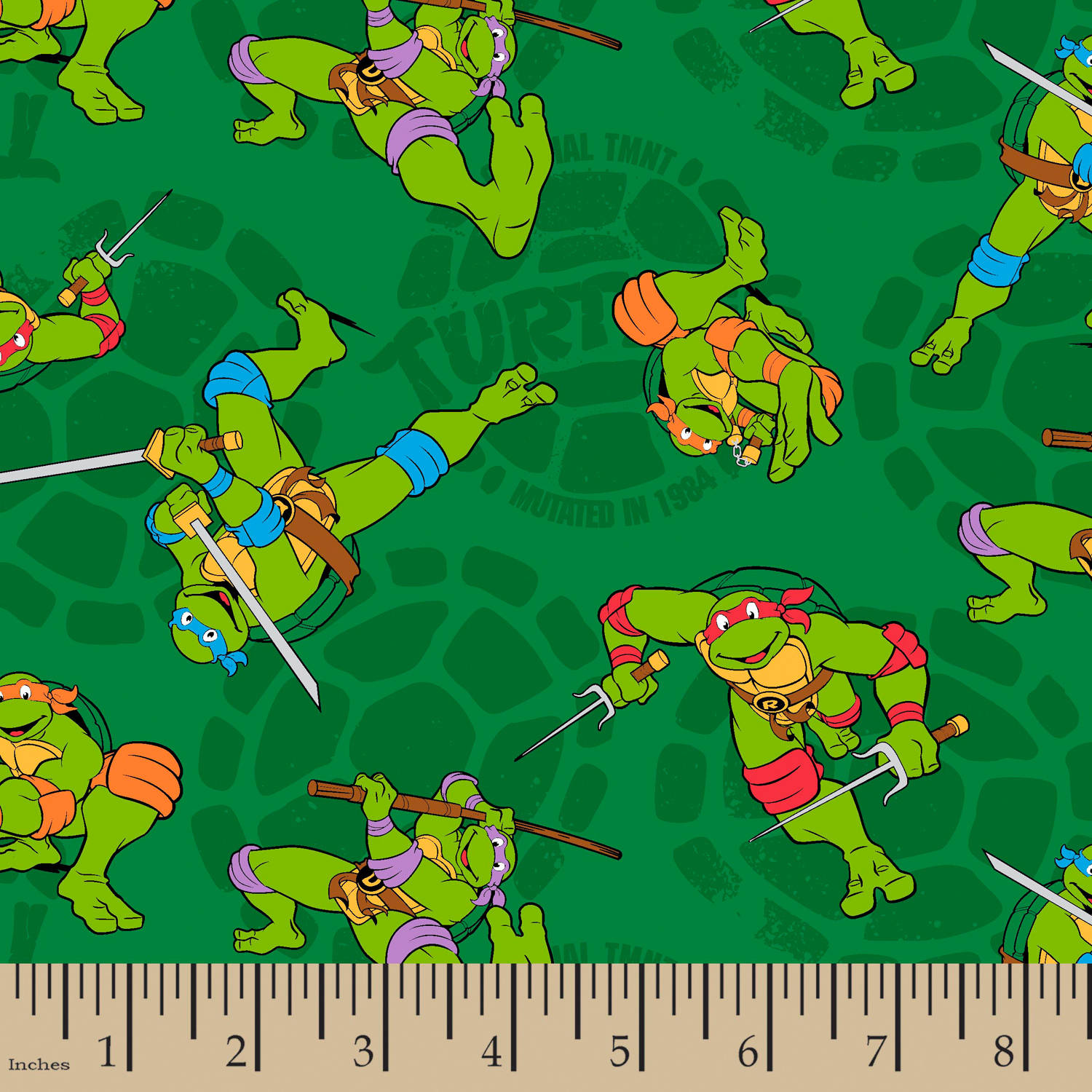 "TMNT Mutated In 1984, Green, 43/44"" Width, Fabric by the Yard"