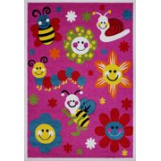 "Ladole Rugs Cute Bees and Flowers Smiley Faces Kids Area Rug Carpet in Pink, 4x6 (3'11"" x 5'3"", 120cm x 160cm)"