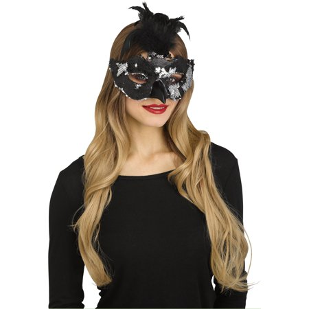Fun World Halloween Fantasy Raven Costume Feather Mask, One-Size, Silver Black