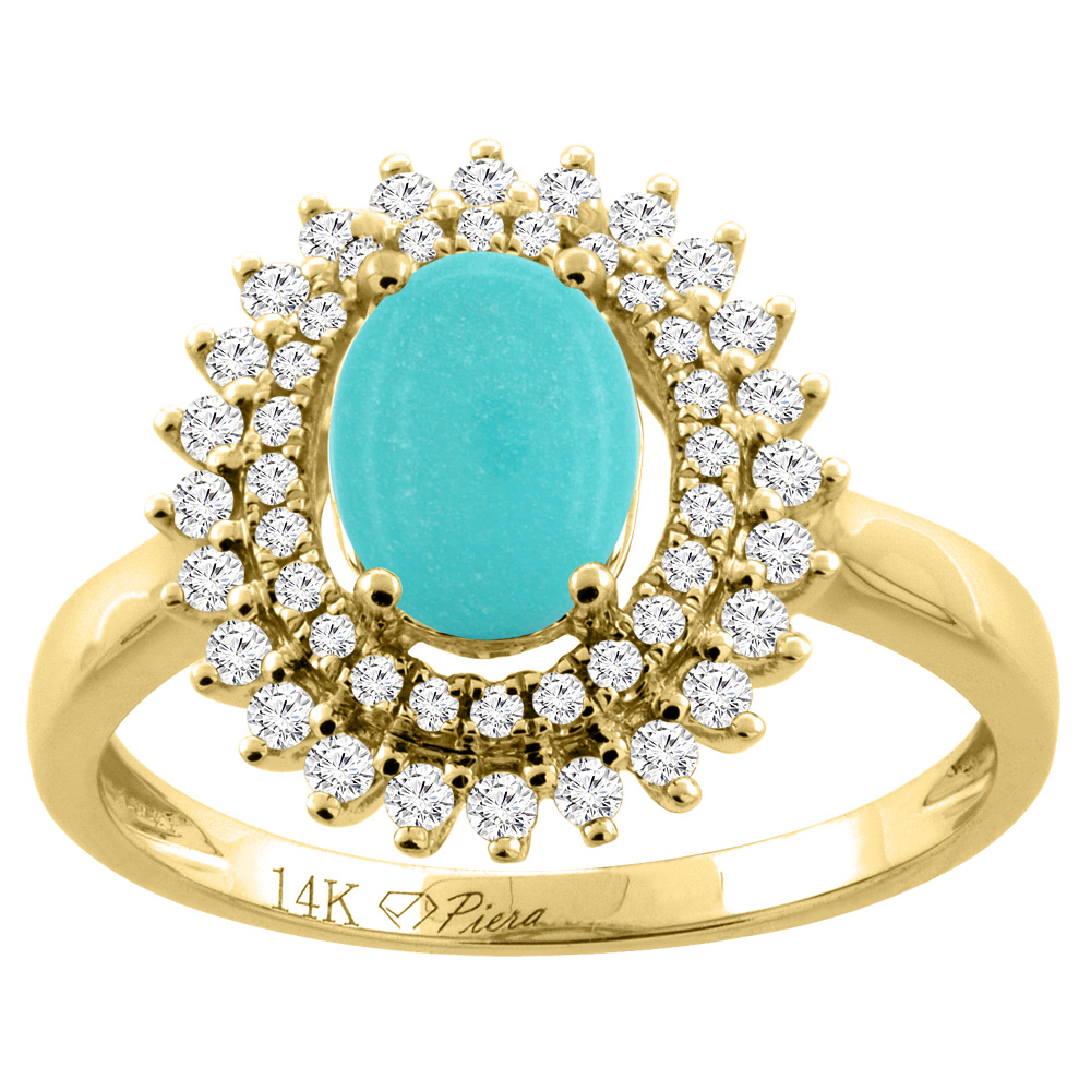 14K Yellow Gold Natural Turquoise Ring Oval 8x6 mm Double Halo Diamond Accents, size 6 by Gabriella Gold
