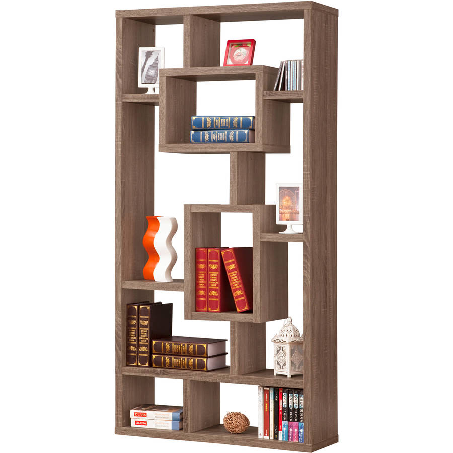 10-Shelves Bookcase in Brown