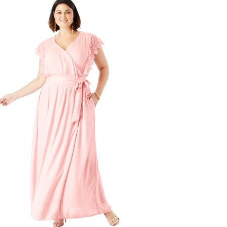 Crinkle Maxi Dress (Roaman's Plus Size Crinkle Wrap Maxi Dress With Crochet Lace Sleeves)