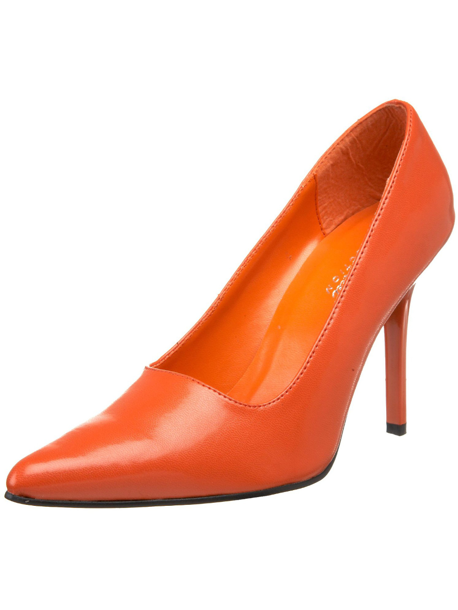 "Women's Highest Heel Shoes 4"" Classic Plain Pump - Orange Kid P.U."