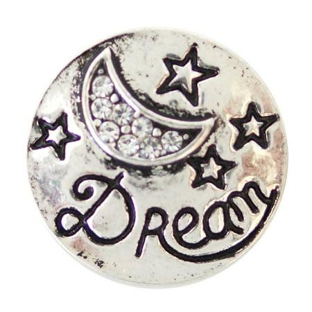 1 PC - 18MM Dream Moon White Rhinestones Silver Snap Candy Charm kb6892 CC2016