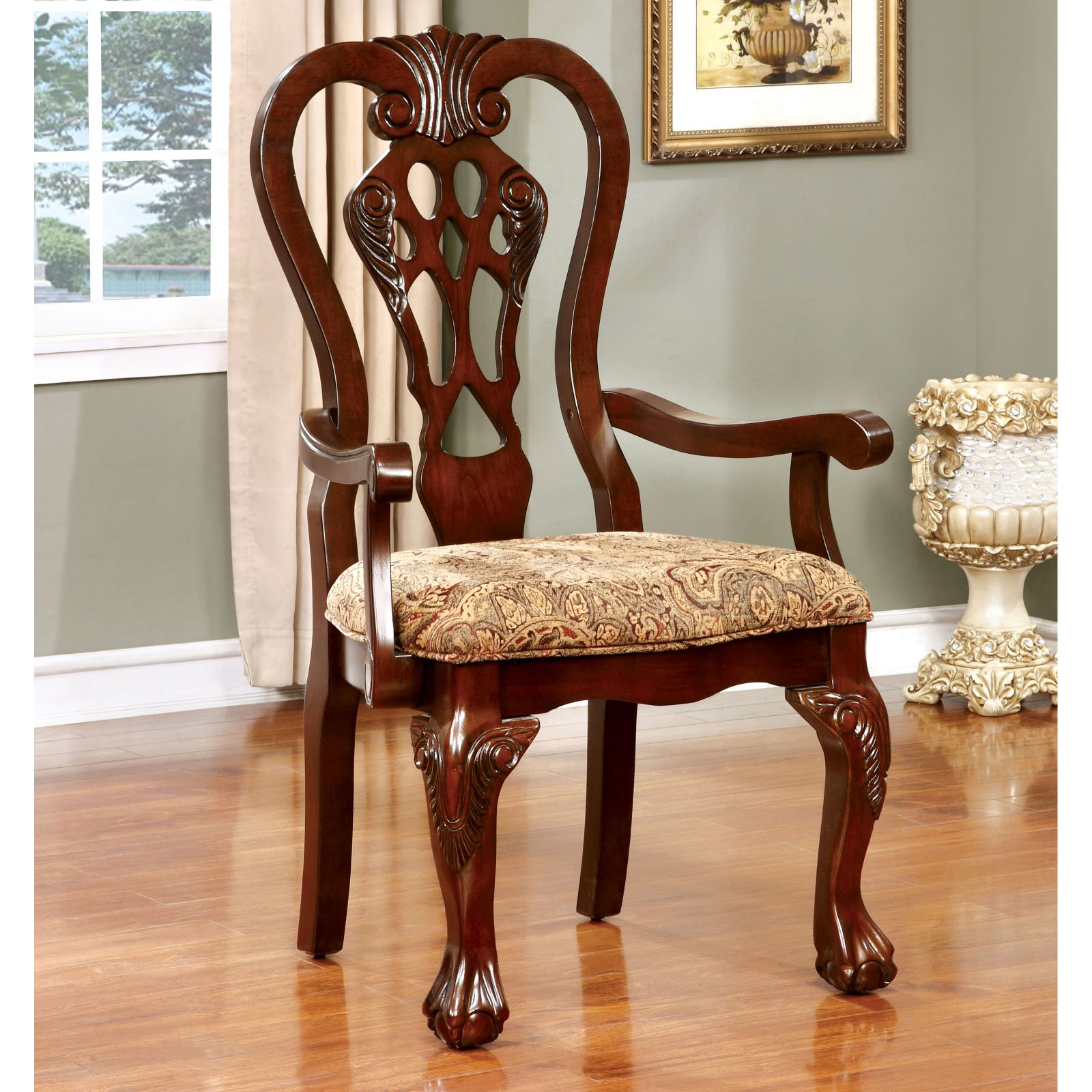 Furniture of America Dubelle Classic Dining Armchair Set of 2 by Enitial Lab