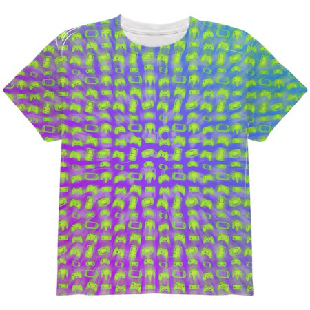 Choose your Weapon Wisely Pattern Video Games All Over Youth T Shirt