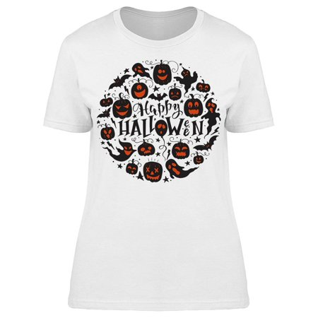 Halloween Icon Text (Halloween Round Icon Tee Women's -Image by)