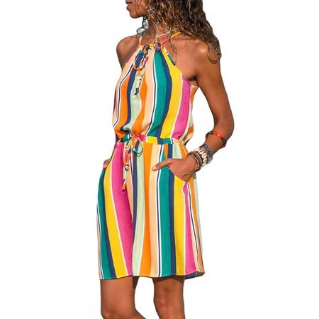 Sleeveless Halter Neck Beach Dresses For Women Spaghetti Strap Floral Print Short Mini Dress Summer Casual Party Beach Holiday (Floral Halter Sundress)