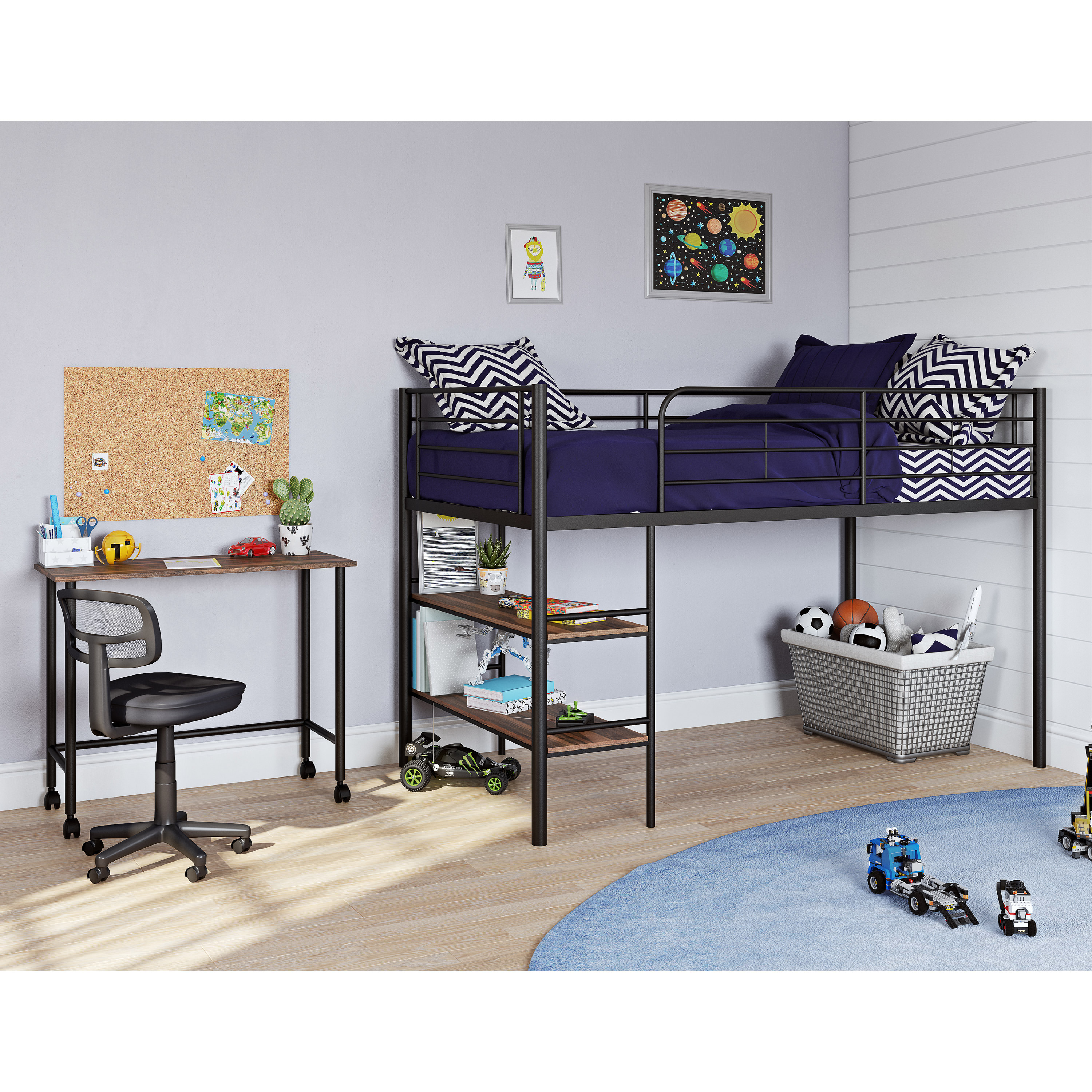 Mainstays Beckett Kids Metal Twin Loft Bed and Rolling Desk