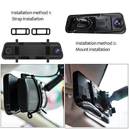 AWESAFE Mirror Dash Cam 10 Inch Touch Screen 1080P Rear View Mirror Camera Front and Rear Dual Lens Backup Camera - image 2 de 5