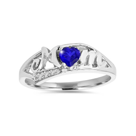 5/8ct Simulated Blue Heart Sapphire & Genuine Diamond MOM Ring 10K White - Diamond & Sapphire Heart Ring