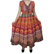 Mogul Womens Summer Maxi Dress Printed Sleeveless Cotton Summer Fashion Boho Chic Long Dresses