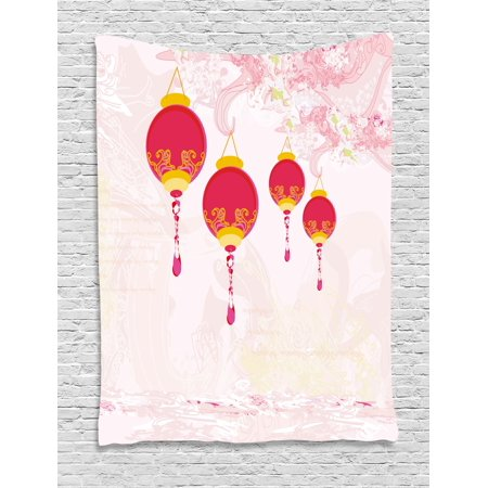 Lantern Tapestry, New Year of Chinese Calendar Celebrations Eastern Imagery Abstract Asian Art, Wall Hanging for Bedroom Living Room Dorm Decor, Hot Pink Yellow, by - Chinese New Year Celebration Ideas