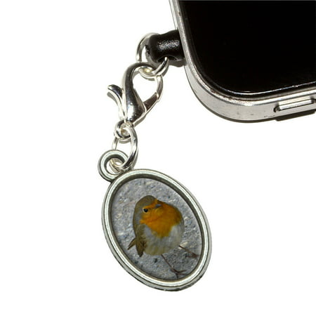 Robin Bird Oval Mobile Phone Charm - No. 2