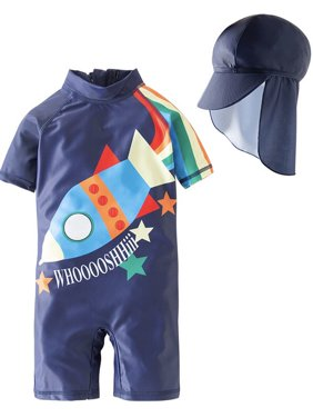 Kid Boys Chic Animals Printed One-Piece Rash Guard with Sun Hat 2pcs Swimsuit Pool Swimwear Beach Bathing Suit (Rainbow Fish Blue, 6)