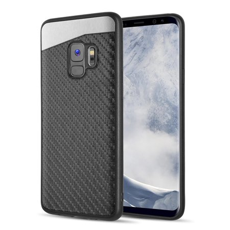 Kaleidio Case For Samsung Galaxy S9 G960 [Mercer] Flexible TPU [Slim Fit] Magnetic Rear Skin Cover [Includes a Overbrawn Prying Tool] [Black Carbon Fiber Texture]