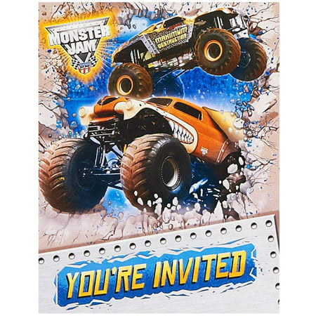 Monster Jam 3D Invitations 8pk