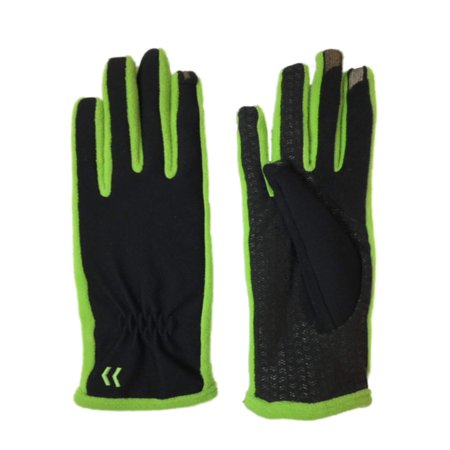 Isotoner Smart Touch Womens Black & Apple Green Tech & Text Gloves Smartouch ()