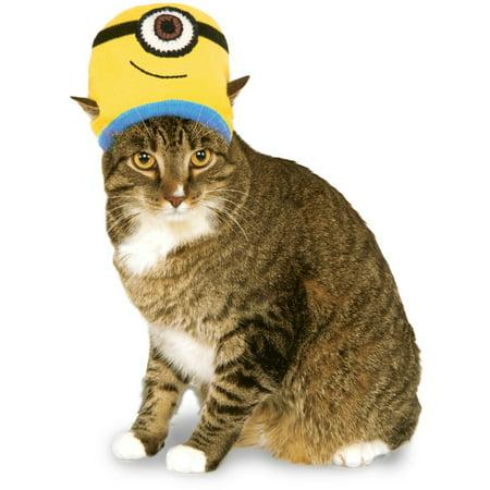 Despicable Me Minions Stuart Knit Hat For Pet Cat Costume Accessory (Despicable Me Minion Hat)