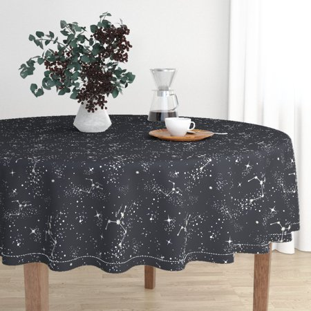 Round Tablecloth Celestial Stars Zodiac Constellations Cancer Cotton Sateen